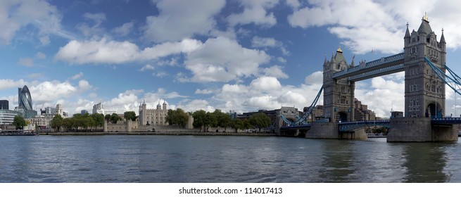 LONDON, UNITED KINGDOM - SEPTEMBER 25:Panorama  showing Tower Bridge, Tower of London and several  iconic buildings over the River Thames.