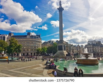 LONDON, UNITED KINGDOM - SEPTEMBER 28, 2017: Clouds streak and billow the Charing Cross skyline from Trafalgar Square.