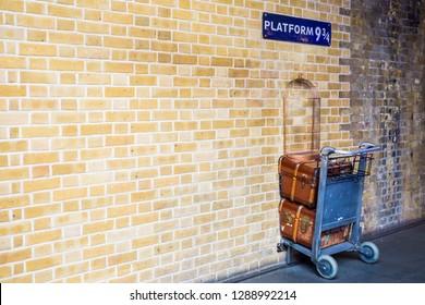 LONDON, UNITED KINGDOM - September 29, 2017: Platform 9¾ at King's Cross Station in London, UK
