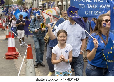 London, United Kingdom - September 3, 2016: March for Europe. A march was organised through social media to take the concerns of the Remain voters to the government of Britain.