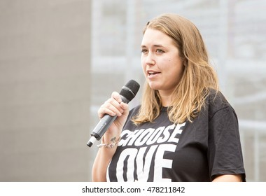 London, United Kingdom - September 3, 2016: March for Europe. At a rally organized through social media against the concept of Brexit there were many speakers as well as poets, a comedian and a singer