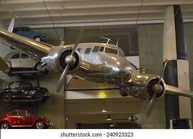 London, United Kingdom September 5, 2013: Lockheed 10A Electra serial no 1037, made in 1935, hangs on display. The Electra is the plane in which Amelia Earhart disappeared on July 2, 1937.