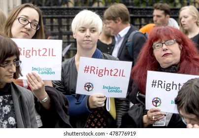 London, United Kingdom - September 5, 2016: Right to Independent Living. A delegation from DPAC went to the House of Commons and then marched on Downing Street to protest.
