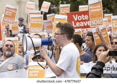 London, United Kingdom - September 5, 2016: Parliament Starts Brexit Discussions. Rallies were held outside the House of Commons as Parliament reconvenes after summer to discuss Brexit.
