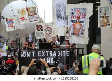 London / United Kingdom - September 7 2020: Fashion Designer Vivienne Westwood  speaks to supporters of Wikileaks founder Julian Assange outside Central Criminal Court.