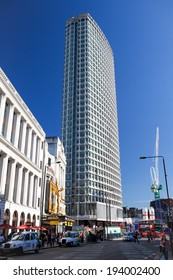 LONDON, UNITED KINGDOM - SEPTEMBER 7, 2012: Centre Point, one of London's first skyscrapers, has been refurbished and is the site for Crossrail expansion works at Tottenham Court Road station.