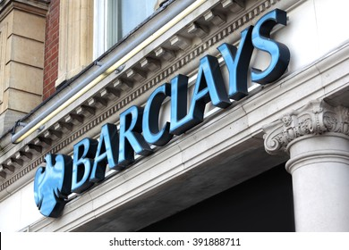 LONDON, UNITED KINGDOM : SEPTEMBER 7, 2011 - Sign and logo above the entrance to a branch of Barclays Bank in Knightsbridge London.
