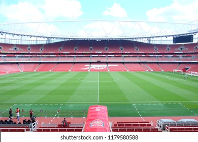 London, United Kingdom- September 9,2018: A picture of empty Emirates Stadium during weekend which open for tourist to visit. Its a home for Arsenal Football Club.