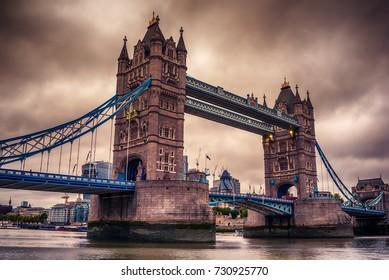 London, the United Kingdom: Tower Bridge on River Thames at sunset