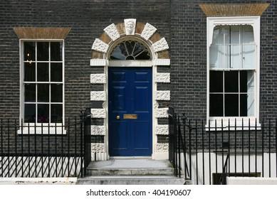 London, United Kingdom - typical Georgian architecture door in Bloomsbury area.