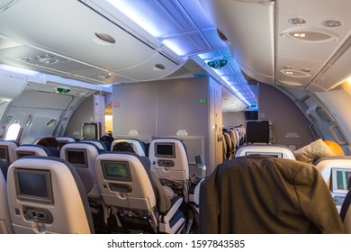 London, United Kingdom, UK- 29 May 2015: The inside of British Airlines Airbus A380 airplane. The Airbus A380 is a double-deck, wide-body, four-engine jet airliner.