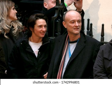 London, United Kingdom-December 13, 2019: Dominic Cummings and his wife Mary Wakefield are waiting outside Downing Street for the prime minister to make a statement.
