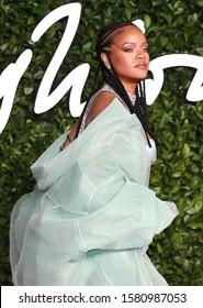 London, United Kingdom-December 2, 2019: Rihanna attends the Fashion Awards at the Royal Albert Hall.