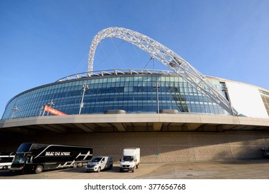 London, United Kingdom-February16, 2016:Wembley Stadium is opened in 207 on the site of Empire Stadium. With 90 000 seats it is largest stadium in UK.