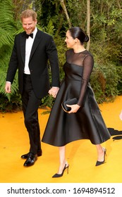 London, United Kingdom-July 14, 2019: Prince Harry, Duke of Sussex and Meghan, Duchess of sussex attend The Lion King European Premiere at the Odeon Luxe in London, UK.
