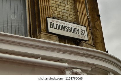 London, United Kingdom,June 2018. The sign: Bloomsbury Street. Here the buildings are listed, can not be demolished, expanded or modified without the special permission of the local planning authority