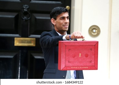 London, United Kingdom-March 11, 2020: Rishi Sunak, Chancellor of the Exchequer, leaves No.11 Downing Street to present his budget at the House of Commons in London, UK.
