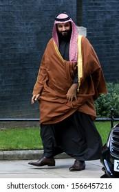 London, United Kingdom-Mars 7 2018: Saudi Crown Prince Mohammad bin Salman bin Abdulaziz Al Saud  visits 10 Downing Street in London, UK.