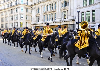London, United Kingdom-November 10,2018.The Lord Mayor of London in his gold carriage at the Lord Mayor Show in the City of London/11,10,2018