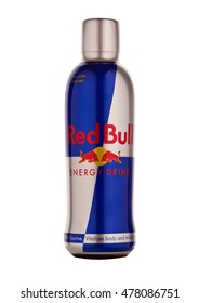 LONDON, UNITED KINGDOM-SEPTEMBER 3, 2016: Bottle of Red Bull Energy Drink. In terms of market share, Red Bull is the most popular energy drink in the world.Isolated on white background.