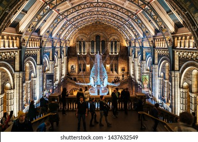 London, United Kingdon - Deceber 2 2018: Huge dinosaur bones at Central Hall, Natural History Museum, South Kensington, London, England, United Kingdom, Europe