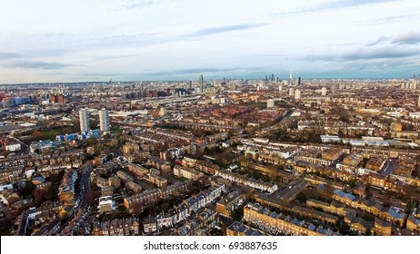 London Urban Cityscape Clapham and Battersea Aerial View