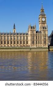 London view, Big Ben, Parliament and river Thames