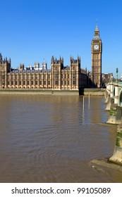 London view, Big Ben, Parliament, bridge and river Thames