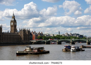 London view to Houses of Parliament and Westminster Bridge