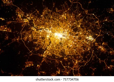 London. View at night from space.  The elements of this image furnished by NASA.