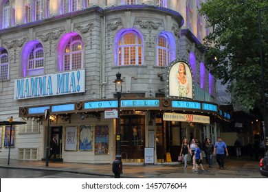 The London west end Novello Theatre London advertising the Mama Mia! musical show - London, England, United Kingdom - July 19, 2019
