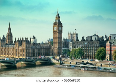 London Westminster with Big Ben and bridge.