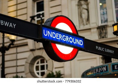 London, Westminster, United Kingdom - 08/24/2013 : The Tube, The famous londo underground sign.