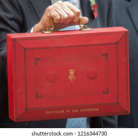 London, Westminster/United Kingdom - 10.29.2018: British Chancellor of the Exchequer Philip Hammond MP presents his red budget case to media outside 11 Downing Street in London on Budget Day.