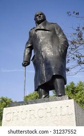 London - Winston Churchill statue by parliament