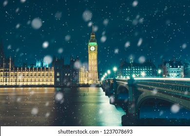 London at winter, Snow in London, Big Ben At Night, London,  UK