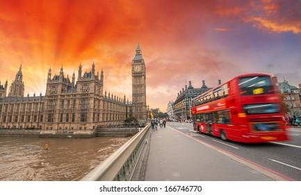 London. Wonderful sunset colors over city landmarks.