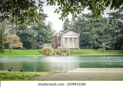 LONDON-APRIL, 2018: Gunnersbury Park pond and gardens in Hounslow, west London, UK.  A large park with museum and cafe