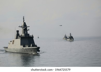 London,Britain25April2021:The US Navy Arleigh Burke-class destroyer USS The Sullivans and a Dutch frigate, HNLMS Evertse, complete the line-up of surface warships accompanying HMS Queen Elizabeth.
