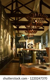 Londonderry, Northern Ireland - September 21. 2018: Cozy interior Walled City Brewery in Derry.