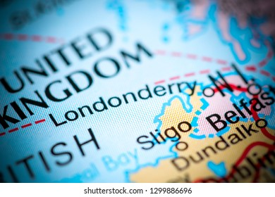 Londonderry. United Kingdom on a map