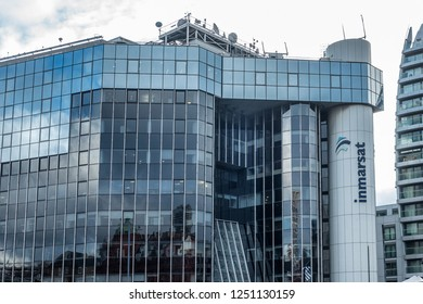 London,Engalnd on 2nd Dec 2018: The world HQ of the Britsh company Inmarsat who is a satellite telecommunications company, offering global mobile services through thirteen geostationary satellites