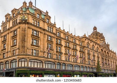 London,Engalnd on 2nd Dec 2018:Harrods is a department store located in Knightsbridge,The store occupies a 5-acre  site and has 330 departments covering 1.1 million Sq ft and is the largest in Europe