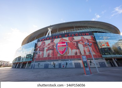 LONDON/ENGLAND - 01 February, 2018 :  Visiting In front of the Emirates Stadium in London, UK showing the Arsenal armoury or Arsenal shop and ticket selling box.