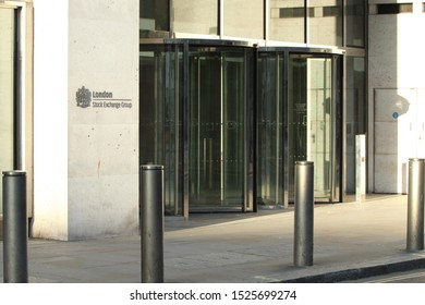 London/England - 09 14 2019: Outside the offices of the London Stock Exchange Group in the financial district of London