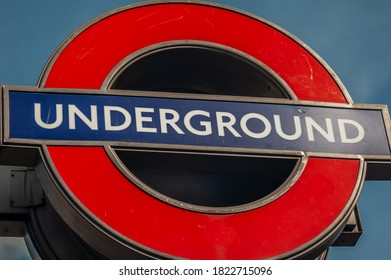 LONDON/ENGLAND- 12 September 2020: London Underground roundel