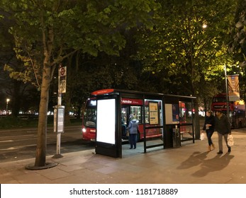 London,England - 30-04-2018 :Bus stop in the street in London,England when late night.