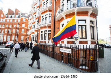 London/England - April 11th, 2019: The Ecuadorian flag waves outside the Ecuador Embassy in London.