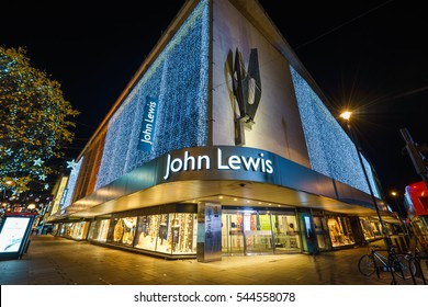 LONDON,ENGLAND - DECEMBER 16,2016: John Lewis department store exterior at Oxford street with wall of lights as part of its Christmas decorations