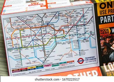 LONDON/ENGLAND – FEBRUARY 22 2020: London Underground tube map